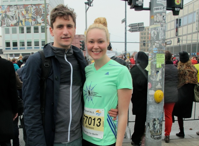 Berlin Half Marathon - Dan and I at start line